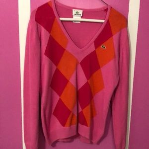 Girls Pink Lacoste Sweater